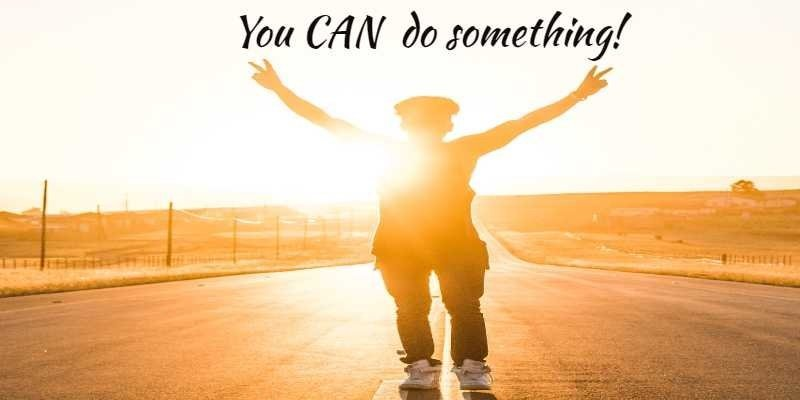 Woman runner with arms upraise in victory. Text says You CAN do something!
