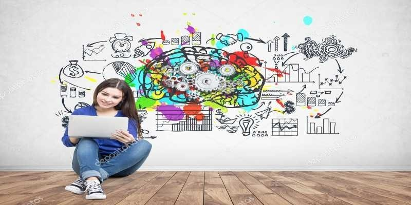 Picture of lady sitting with laptop with background diagram of cogs in a brain.