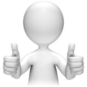 White figure holding two thumbs up